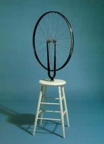 M. Duchamp Ruota di bicicletta, ruota di bicicletta, forcella al contrario, sgabello, 1913 (1964)